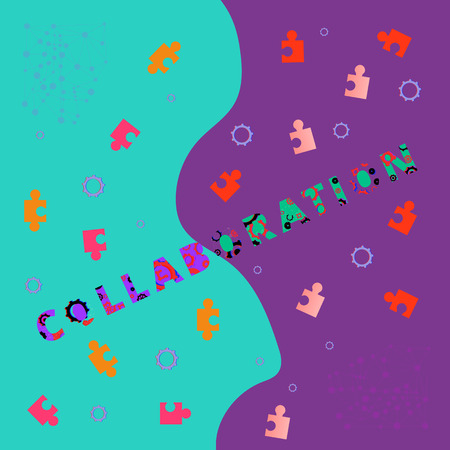 Collaboration phrase on colorful background. Template for graphic design — banner, poster, flyer, brochure, card.   Vector illustration.