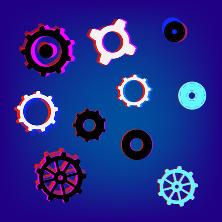 Collection of gears with chromatic defect style. Chromatic aberration effect. Trendy elements for graphic design. Vector illustration. Illustration