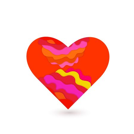 Heart with 3D papercut decor. Multi layers effect. Design elements for Valentines day. Vector illustration.