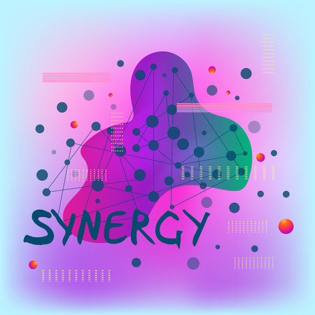 Synergy handwritten word  with abstract liquid shape, connecting dots and lines.