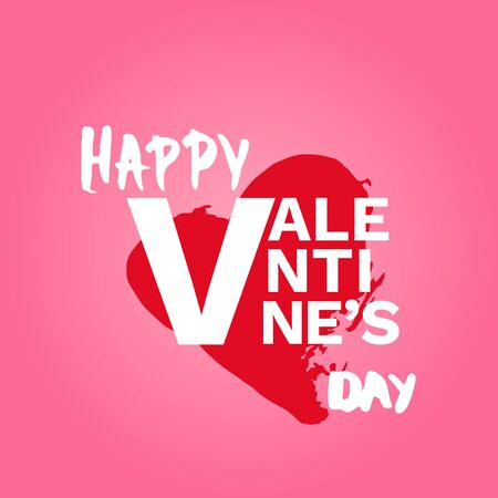 Happy Valentines Day Phrase on Pink Background. Handwritten Elements for Graphic Design - Banner, Poster, Flyer, Brochure, Card. Vector Illustration.