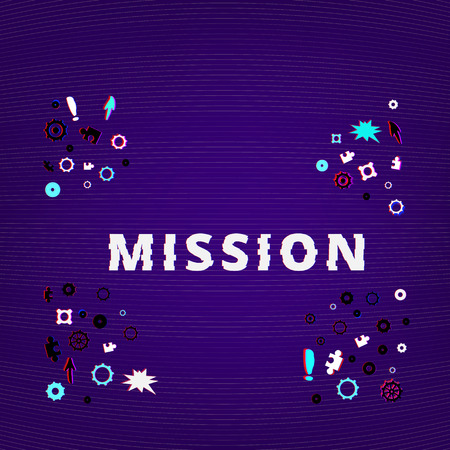 Mission text on dark background with gears and puzzles shapes. Distorted glitch style effect.