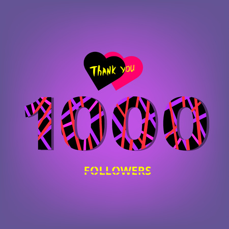 1000 Followers thank you phrase on violet background. Memphis trendy effect of typography.