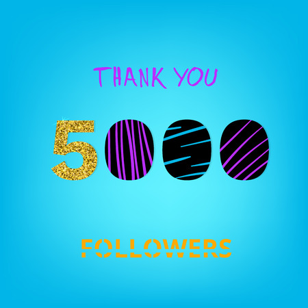 5K Followers thank you banner on blue background. Creative typography with doodle lines and gold glitter pattern. Template for social media post. 5000 followers phrase. Vector illustration.