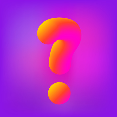 Question stylized mark sign with 3D colorful effect. Element for graphic design. Vector illustration.