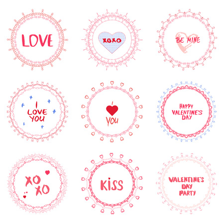 Collection of Valentines Day and Wedding round decorative borders with hand drawn text elements. Good for invitation and greeting card. Vector illustration.