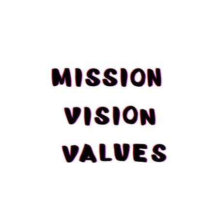 Mission, Vision, Values business phrases with chromatic defect style. Chromatic aberration effect. Element for graphic design. Vector illustration.  Ilustração