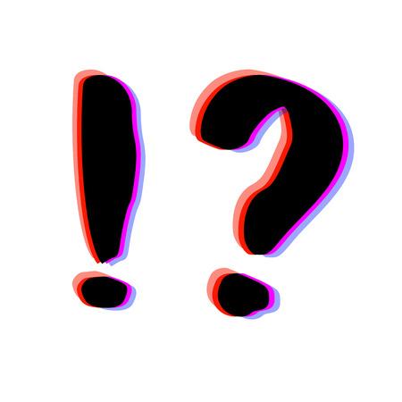 Pergunta e pontos de exclamação com estilo de defeito cromático. Efeito de aberração cromática. Elemento moderno para design gráfico. Ilustração vetorial