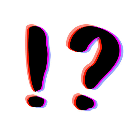 Question and exclamation marks with chromatic defect style. Chromatic aberration effect. Trendy element for graphic design. Vector illustration.