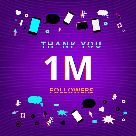 1M Followers thank you banner. Distorted glitch and chromatic aberration trendy effect. Template for social media post. Vector illustration.