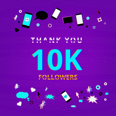 Template for social media post. 10K Followers thank you phrase on abstract  background with random items. Glitch chromatic aberration trendy style. 10000 subscribers banner. Vector illustration. Stock Illustratie