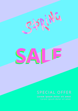 Spring Sale banner on geometric abstract background. Sliced text style. Template for promotional advertising banner. Element for graphic design - banner, poster, flyer,  card. Vector illustration.