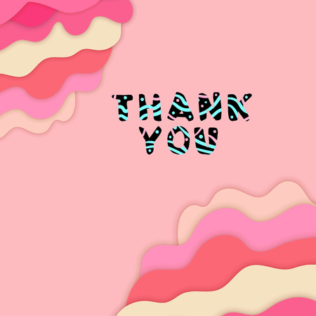 Thank you handwritten phrase on pastel color paper cut background. 3d multi layers style element for for graphic design - banner, poster, flyer, brochure, card vector illustration.