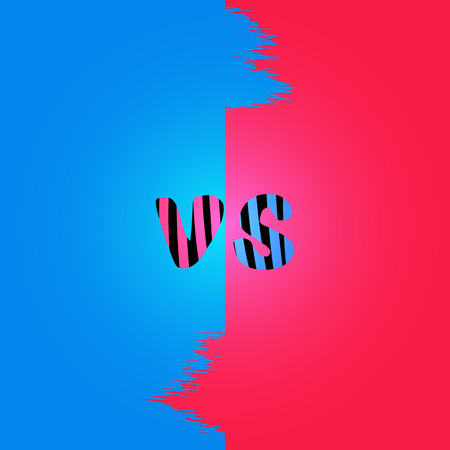 Versus sign on divided background, handwritten typography with color lines. Template for banner, poster, flyer, brochure, card vector illustration. Vectores