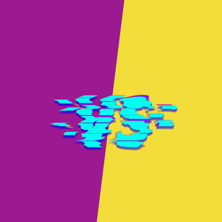 Versus sign on divided bright background glitch chromatic aberration style. Template for banner, poster, flyer, brochure, card vector illustration.