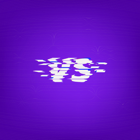 Versus sign on dark background glitch chromatic aberration style. Template for banner, poster, flyer, brochure, card vector illustration.