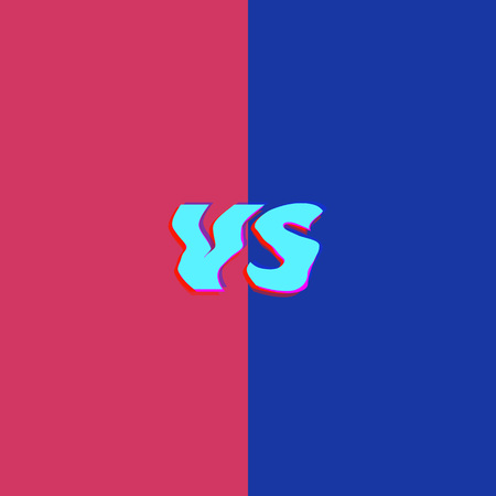 VS letters, chromatic aberration modern style. Element for graphic design. Versus sign with glitch effect vector illustration. Ilustração