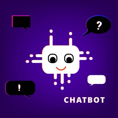 Cute chat bot robot virtual assistance. Chatbot with chromatic defect style. Chromatic aberration effect. Element for graphic design. Vector illustration.