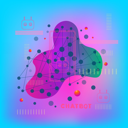 Chat bot robot virtual assistance. Chatbot concept. Trendy abstract backgrounds with dynamic liquid shape. Vector illustration. Illustration