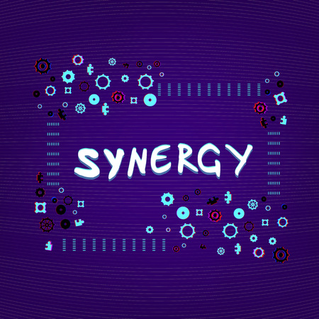 Synergy handwritten phrase with frame. Trendy cover with gears and puzzles shapes. Template for graphic design � banner, poster, flyer, brochure, card. Vector illustration.