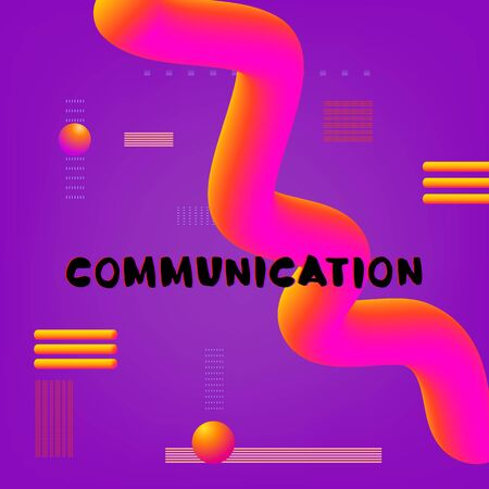 Communication phrase on color background with 3d abstract shapes. Template for graphic design - banner, poster, flyer, brochure, card. Illustration