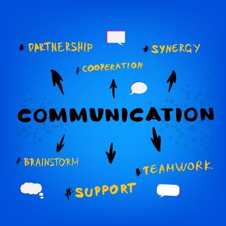 Communication infographic. Phrases on colorful background. Template for graphic design - banner, poster, flyer, brochure, card. Illustration