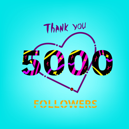 5000 Followers thank you phrase on blue background. Memphis trendy effect of typography. Banner of 5K subscribers for blog. Template for social media post.