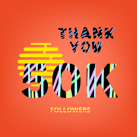 50K Followers thank you phrase on orange background. Memphis trendy effect of typography. Banner of 50000 subscribers for blog. Template for social media post. Stock Illustratie