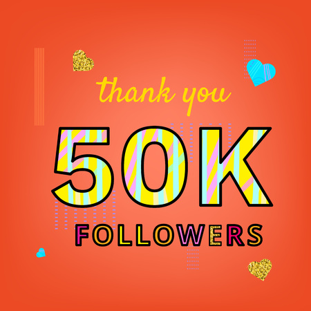 50K Followers thank you phrase on bright background with random items. Memphis style text with abstract hand drawn design. Vector banner for social media.