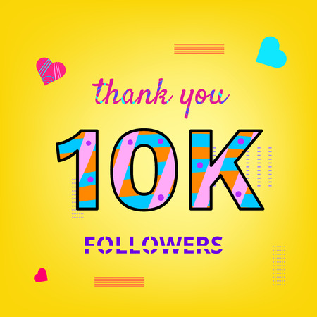 10K Followers thank you phrase on yellow background with random items. Memphis style with abstract hand drawn design. Vector banner for social media.