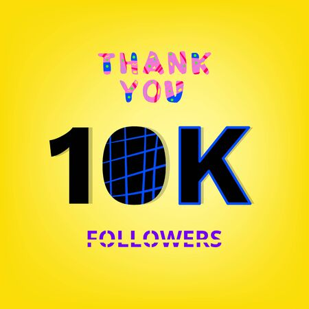 10K Followers thank you banner on yellow background. Creative typography with doodle lines. Template for social media post.