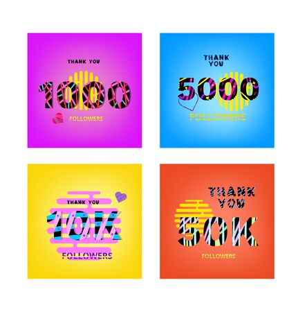 Set of Followers thank you posts on bright  background with random items. Memphis effect of typography. Banners about subscribers goal for blog. Template for post. Vector banner for social media.