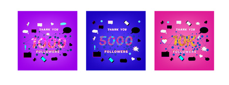 Set of illustrations for social media post. 1000, 5000, 10K Followers thank you phrases with liquid pattern on trendy background with random items. Banner for blog. Ilustração