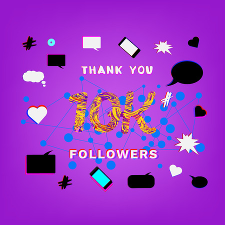 10K Followers thank you phrase with liquid pattern on funky background with random items. Banner for blog. Ilustração