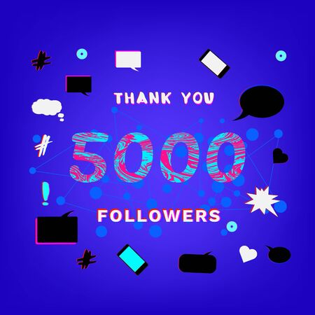 5000 Followers thank you phrase with liquid pattern on funky background with random items. Banner for blog. Ilustração