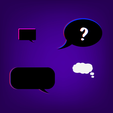 Speech bubbles with question stylized mark sign with chromatic defect style. Chromatic aberration effect. Element for graphic design. Vector illustration.  Illustration