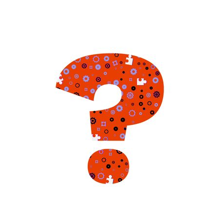 Question mark sign isolated on white background. Typography symbol with pattern. Element for graphic design. Illustration