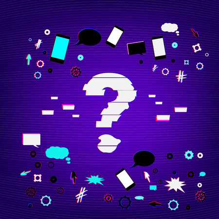 Question stylized mark sign with distorted glitch style effect on dark background with random items. Chromatic aberration effect. Element for graphic design.  イラスト・ベクター素材