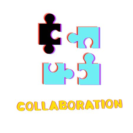 Collaboration phrase and puzzles icon with chromatic defect style isolated on white backgraund. Chromatic aberration effect. Business metaphor. Element for graphic design. Vector illustration. Ilustração