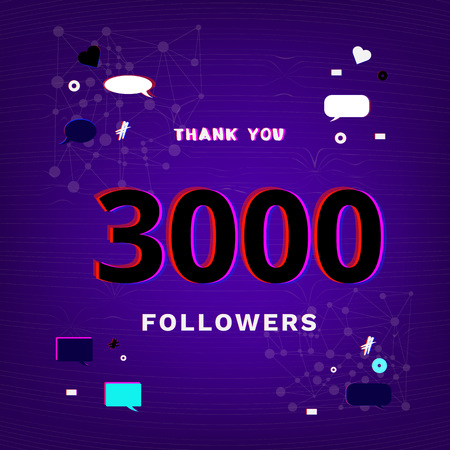 3000 followers thank you post on dark background with random items. Glitch chromatic aberration trendy effect. Banner of 3000 subscribers template for social media post vector illustration.