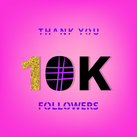 10K followers thank you banner on pink background. Creative typography with doodle lines and gold glitter pattern. Template for social media post vector illustration.