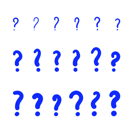 Set of handwritten simple question mark signs isolated on white background. Doodle elements for graphic design. Vector illustration. Illustration