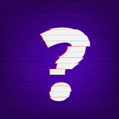 Question mark sign. Distorted glitch style. Chromatic aberration effect. Element for graphic design. Vector illustration. Illustration