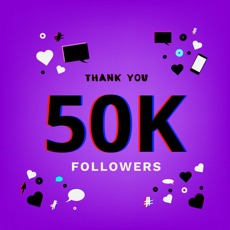 50K Followers thank you post on ultraviolet background. Chromatic aberration trendy effect. Thankful banner for blog. Template for social media post. Vector illustration.