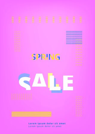Spring Sale banner on geometric abstract background. Template for promotional advertising. Element for graphic design - banner, poster, flyer, brochure, card. Vector illustration. Illustration