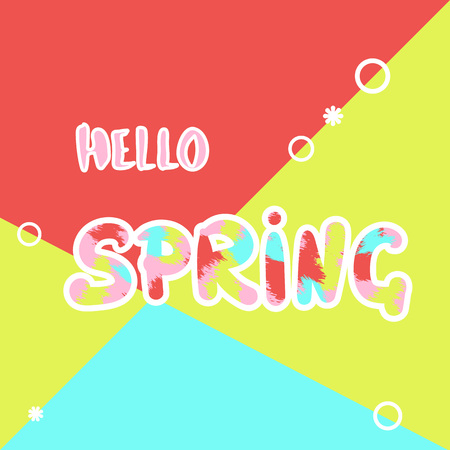Hello Spring handwritten phrase on colorful background. Template for promotional advertising post. Element for graphic design - banner, poster, flyer, brochure, card. Vector illustration. Illustration