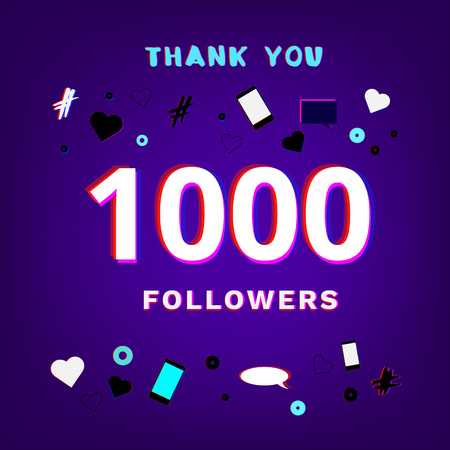 1000 Followers thank you post on dark background with random items. Glitch chromatic aberration trendy effect. Banner of 1K subscribers. Template for social media post. Vector illustration.