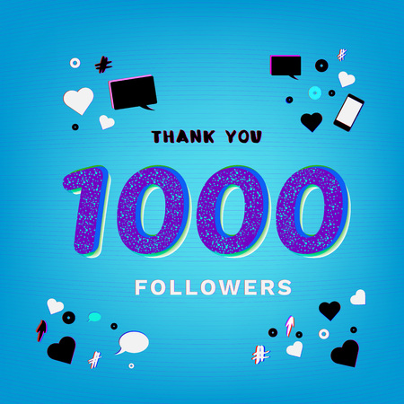 1K Followers thank you banner on bright blue background with random items. Chromatic aberration and grainy trendy effect. Template for social media post. Vector illustration.