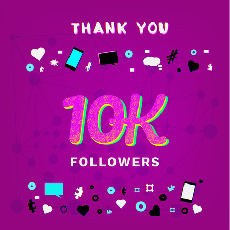 10K Followers thank you banner on bright background with random items. Chromatic aberration and grainy trendy effect. Template for social media post. Vector illustration.