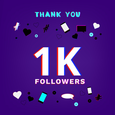 1K Followers thank you banner on blue background with random items. Chromatic aberration trendy effect. Template for social media post. Vector illustration.